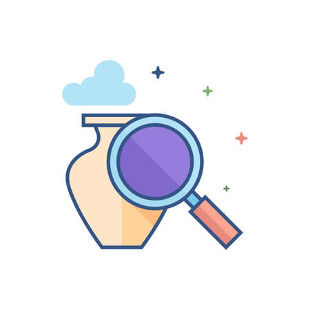 Vase and magnifier icon in outlined flat color style. Vector illustration. Illustration