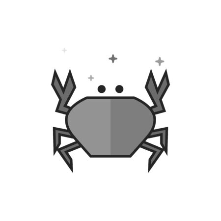 Crab icon in flat outlined grayscale style. Vector illustration.