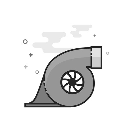 Turbo charger icon in flat outlined grayscale style. Vector illustration.