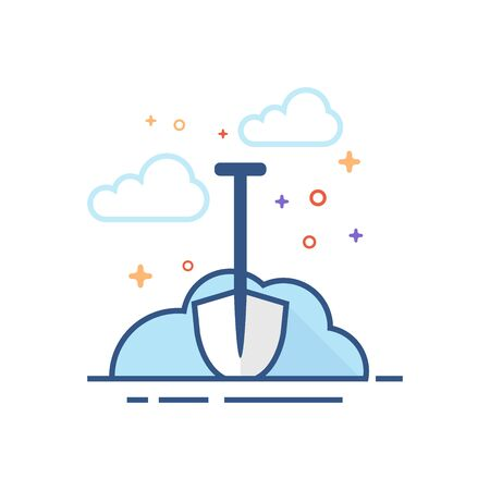Snow and shovel icon in outlined flat color style. Vector illustration.