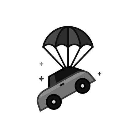Car parachute icon in flat outlined grayscale style. Vector illustration.