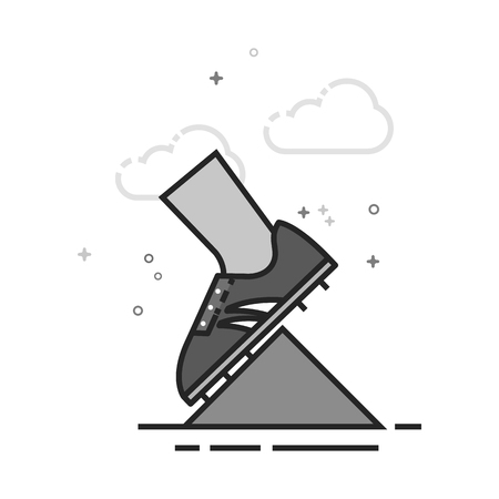 Starting block icon in flat outlined grayscale style. Vector illustration. Illustration