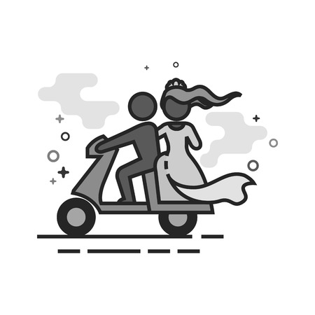 Wedding scooter icon in flat outlined grayscale style. Vector illustration. Illustration