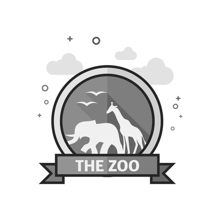 Zoo gate icon in flat outlined grayscale style. Vector illustration. Illustration