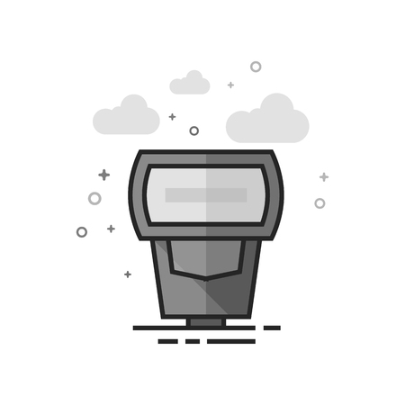 Camera flash icon in flat outlined grayscale style. Vector illustration.
