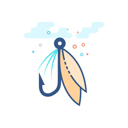 Fishing lure icon in outlined flat color style. Vector illustration.
