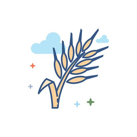 Wheat icon in outlined flat color style. Vector illustration. Illustration