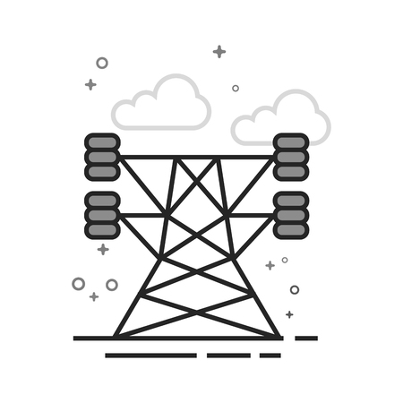 Pylon icon in flat outlined grayscale style. Vector illustration. Illustration
