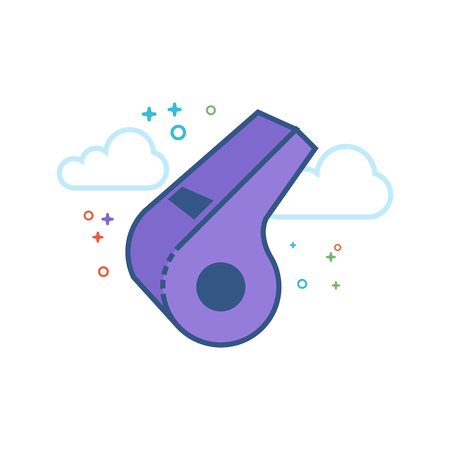 Whistle icon in outlined flat color style. Vector illustration.