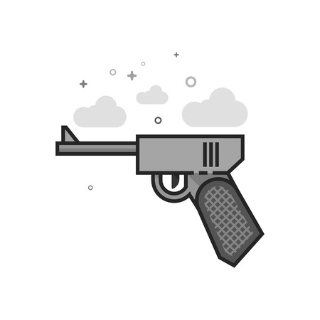 Hand gun icon in flat outlined grayscale style. Vector illustration.