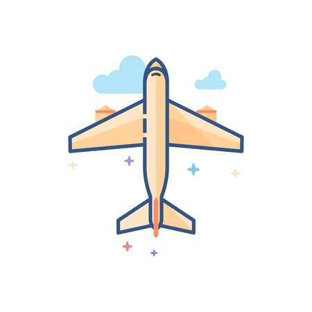 Airplane icon in outlined flat color style. Vector illustration.