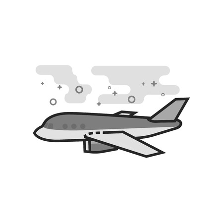 Airplane icon in flat outlined grayscale style. Vector illustration.