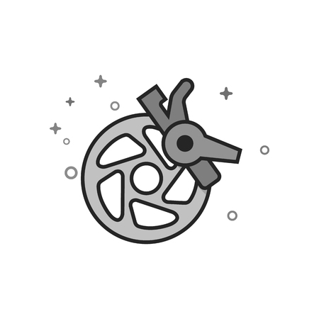 Bicycle brake icon in flat outlined grayscale style. Vector illustration.