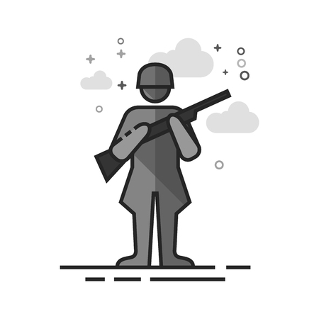 World War army icon in flat outlined grayscale style. Vector illustration.