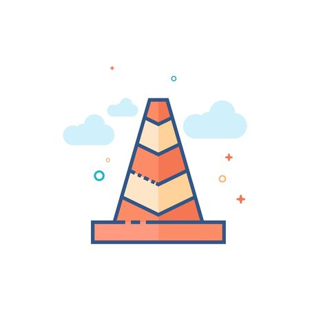Traffic cone icon in outlined flat color style. Vector illustration.
