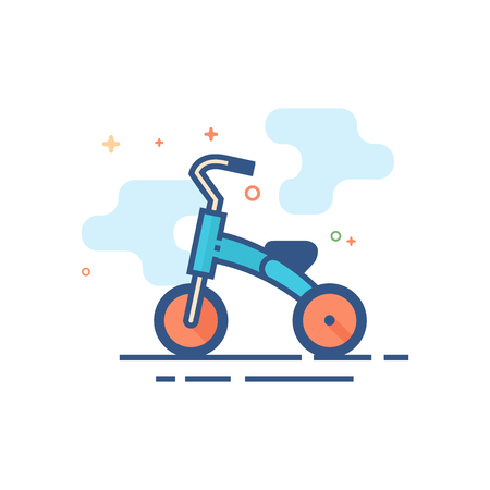 Kids tricycle icon in outlined flat color style. Vector illustration.
