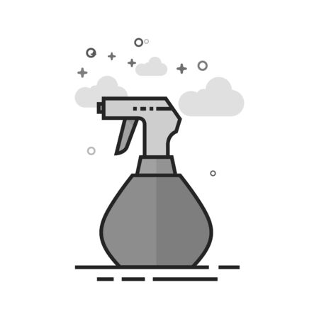 Sprayer bottle icon in flat outlined grayscale style. Vector illustration.