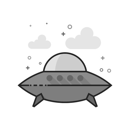 Flying saucer icon in flat outlined grayscale style. Vector illustration.