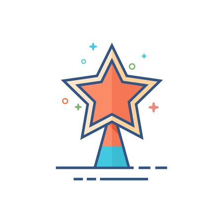 Christmas star icon in outlined flat color style. Vector illustration.