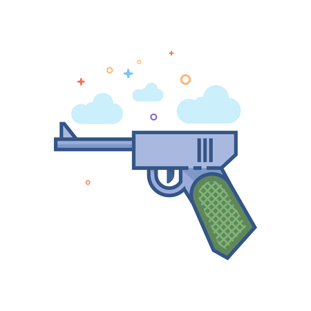 Hand gun icon in outlined flat color style. Vector illustration.