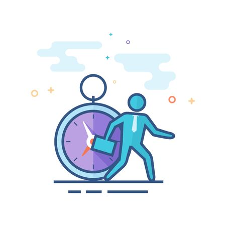 Businessman clock icon in outlined flat color style. Vector illustration.