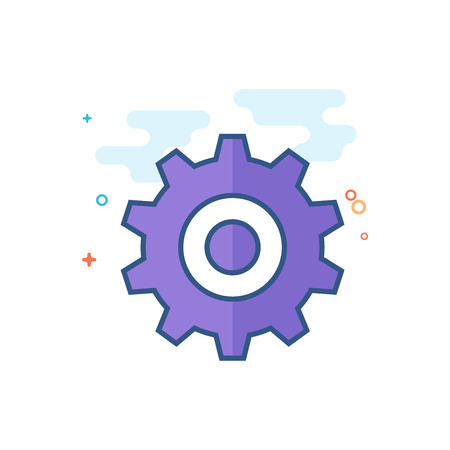 Setting gear icon in outlined flat color style. Vector illustration. Vettoriali