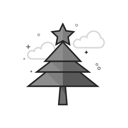 Christmas tree icon in flat outlined grayscale style. Vector illustration. Illustration