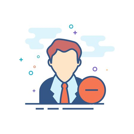 Businessman with minus sign icon in outlined flat color style. Vector illustration. Illustration