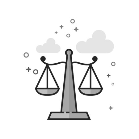Justice scale icon in flat outlined grayscale style. Vector illustration.