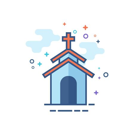 Church icon in outlined flat color style. Vector illustration.