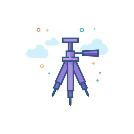 Camera tripod icon in outlined flat color style. Vector illustration.