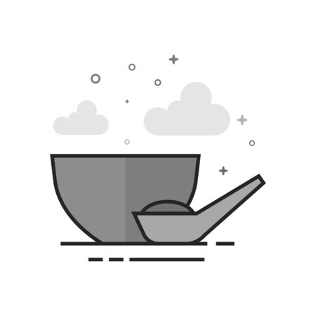 Porridge bowl icon in flat outlined gray scale style. Vector illustration. Çizim