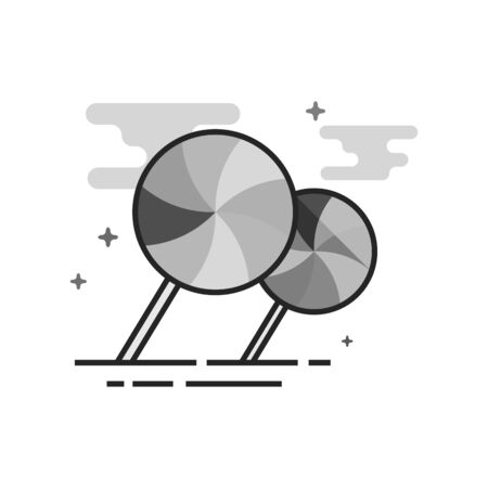 Twist candy icon in flat outlined gray scale style. Vector illustration. Vettoriali