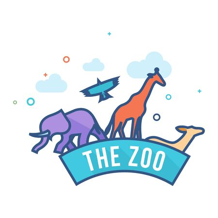 Zoo gate icon in outlined flat color style. Vector illustration. Illustration