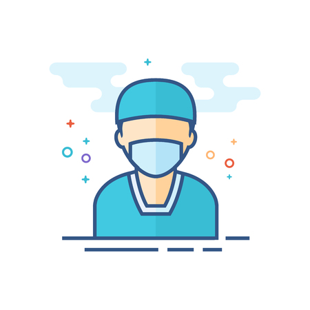 Surgeon icon in outlined flat color style. Vector illustration.