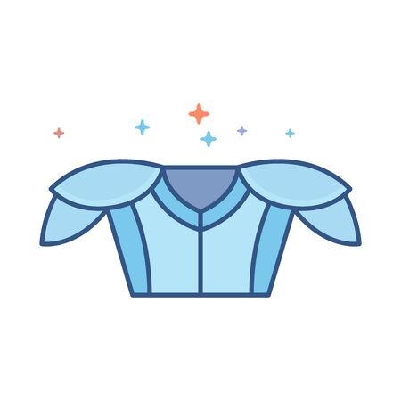 Football armor icon in outlined flat color style. Vector illustration. Illustration