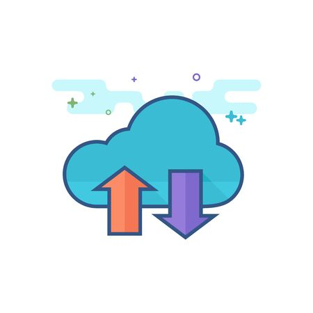Cloud icon with arrows in outlined flat color style. Vector illustration.