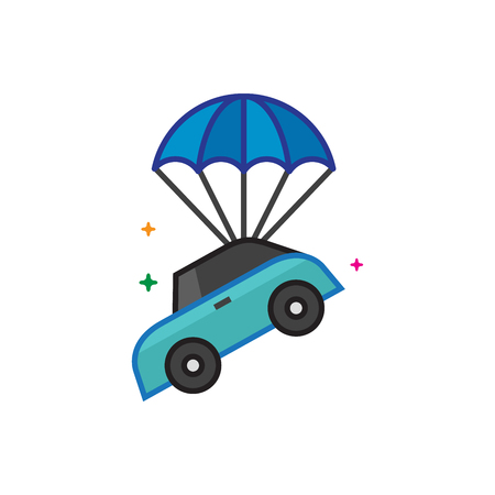 Car parachute icon in outlined flat color style. Vector illustration. Illustration