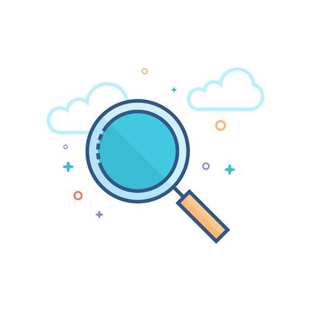 Magnifier icon in outlined flat color style. Vector illustration.