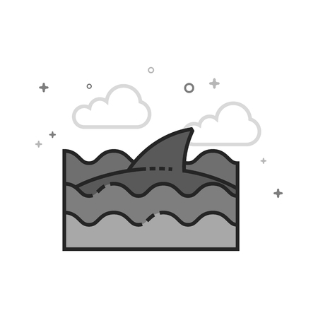 Shark icon in flat outlined grayscale style. Vector illustration.