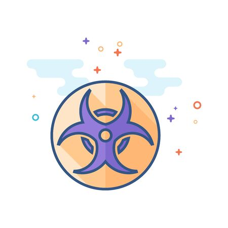 Biohazard symbol icon in outlined flat color style. Vector illustration.