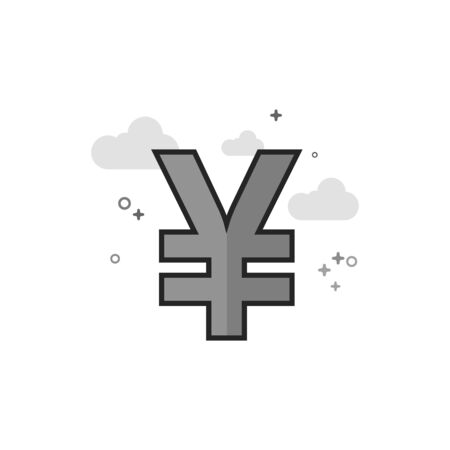Japan Yen symbol icon in flat outlined grayscale style. Vector illustration.