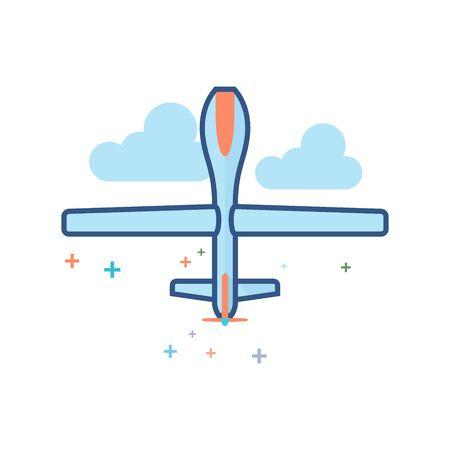 Icône de véhicule aérien sans pilote dans le style de couleur plat indiqué. Illustration vectorielle Banque d'images - 94624992