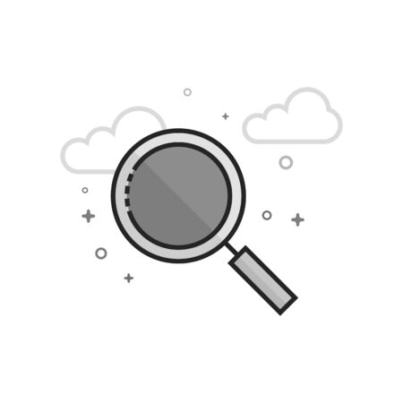 Magnifier icon in flat outlined grayscale style. Vector illustration.