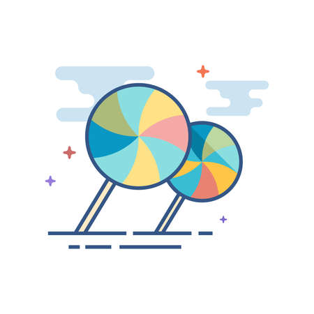Icône de bonbons Twist dans le style de couleur plat indiqué. Illustration vectorielle Banque d'images - 94625018