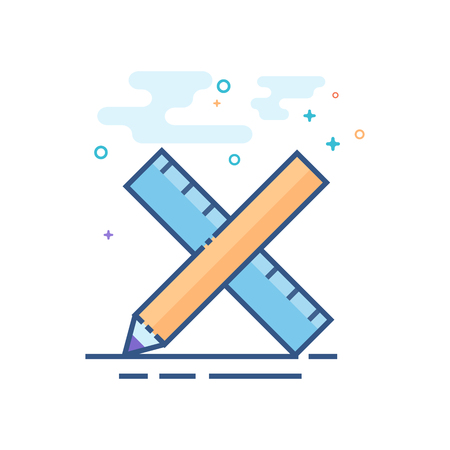 Pencil and ruler icon in outlined flat color style Vector illustration.