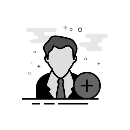 Businessman with plus sign icon in flat outlined grayscale style. Vector illustration.