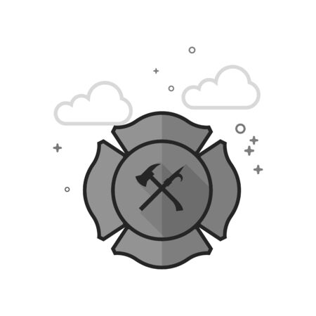 Firefighter emblem icon in flat outlined gray-scale style Vector illustration.