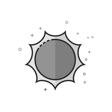 Weather forecast partly sunny icon in flat outlined grayscale style. Vector illustration.