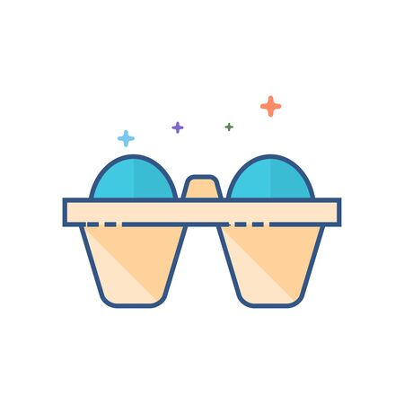 Egg card box icon in outlined flat color style. Vector illustration.